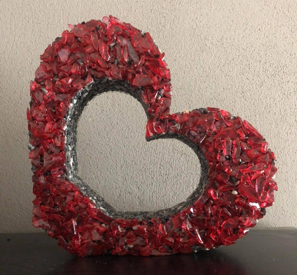 dekorácia na hrob srdce červené
